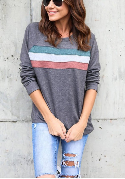 Grey Striped Print Round Neck Long Sleeve Casual T-Shirt