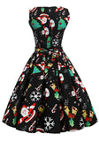 Black Christmas Floral Pleated Zipper Sleeveless Vintage Party Midi Dress