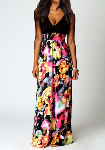 Multicolor Flowers Plunge Sleeveless Bohemian Maxi Dress