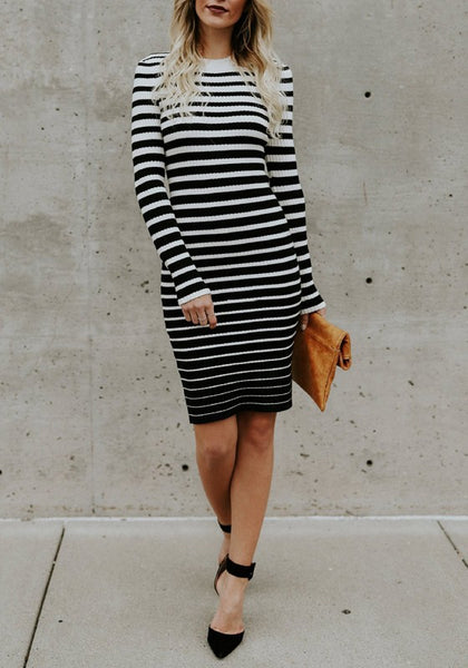 White-Black Striped Round Neck Long Sleeve Sweater Midi Dress