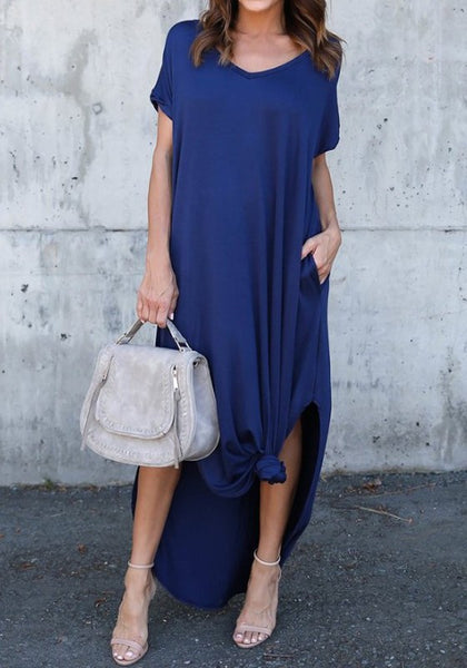 Blue Double Slit Draped V-neck Short Sleeve Casual Maxi Dress