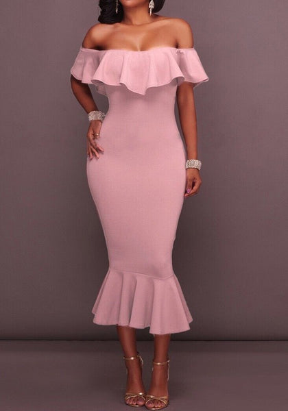 Pink Ruffle Off Draped shoulder Boat Neck Mermaid Short Sleeve Midi Dress
