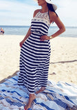 Blue-White Striped Lace High Waisted Halter Neck Backless Beachwear Party Maxi Dress