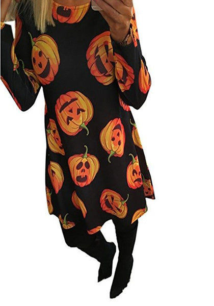 Black Pumpkin Floral Print Round Neck Sweet Midi Dress