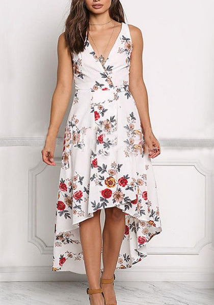 White Floral Irregular Draped High-low V-neck Flowy Bohemian Maxi Dress
