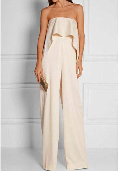 White Off Shoulder Ruffle Backless Draped Vintage Bridesmaid Plus Size Long Jumpsuit