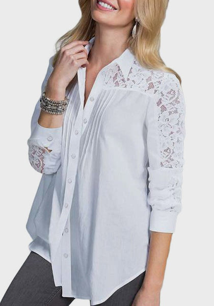 White Patchwork Lace Single Breasted Turndown Collar Office Worker/Daily Blouse