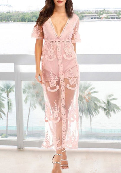 Pink Floral Lace Side Slit Deep V-neck Banquet Elegant Beach Party Maxi Dress