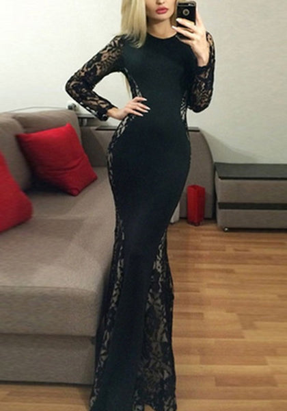Black Patchwork Lace Grenadine Round Neck Long Sleeve Fashion Maxi Dress