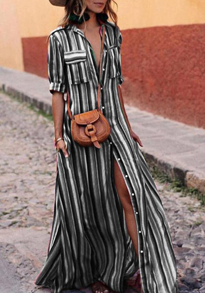 Black Striped Single Breasted Pockets Turndown Collar Going out Blouse Maxi Dress