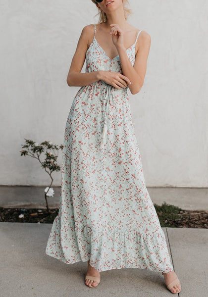 Light Green Sashes Spaghetti Strap Backless V-neck Bohemian Sweet Maxi Dress