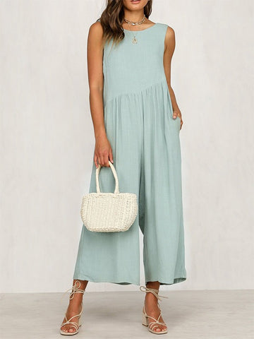 Blue Pockets Backless Round Neck Sleeveless Fashion Wide Long Jumpsuit Pant