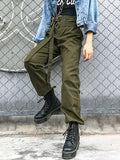 Army Green Drawstring Ring Belt Vintage Casual Cool Cargo Pants