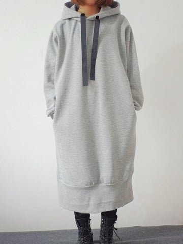 Light Grey Pockets Drawstring Irregular Slit Hooded Long Sleeve Casual Sweatshirt