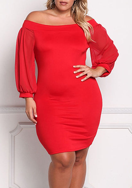 Red Bandeau Off Shoulder Blackless Long Sleeve Bodycon Banquet Formal Midi Dress