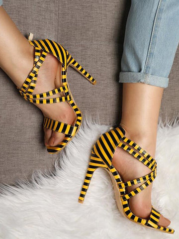 Yellow Round Toe Stiletto Print Fashion High-Heeled Sandals