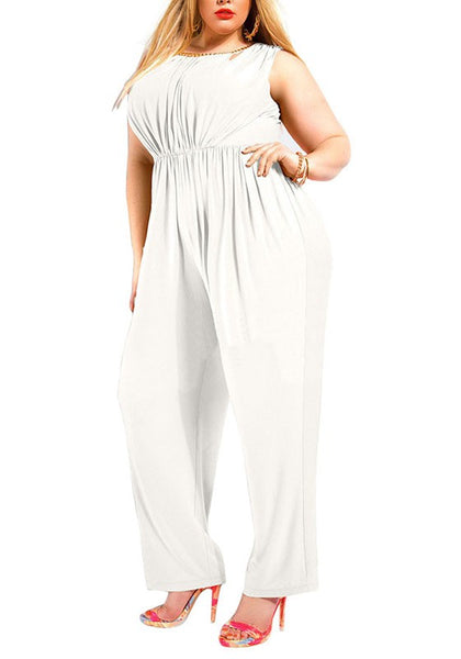 White Pleated Zipper Backless Sleeveless High Waisted Plus Size Long Jumpsuit