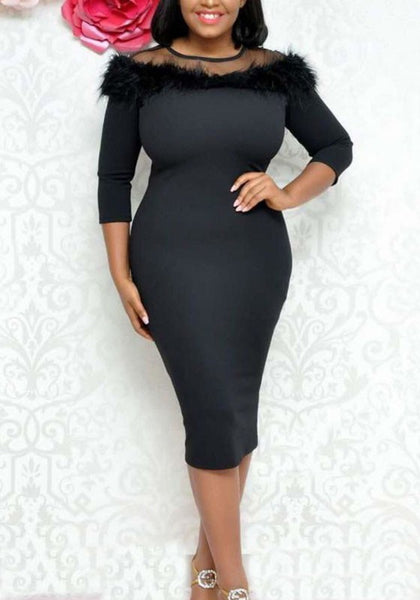 Black Patchwork Grenadine Faux Fur 3/4 Sleeve Bodycon Elegant Cocktail Party Midi Dress