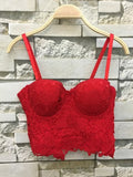 Red Lace Embroidery Spaghetti Straps Backless Push Up Fashion Bra Vest