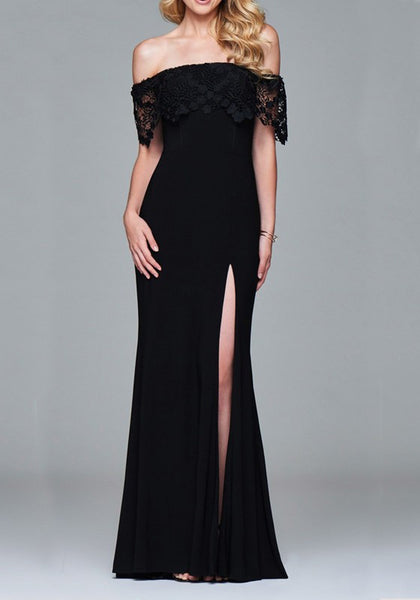Black Ruffle Lace Side Slit Off Shoulder Backless Banquet Elegant Party Maxi Dress