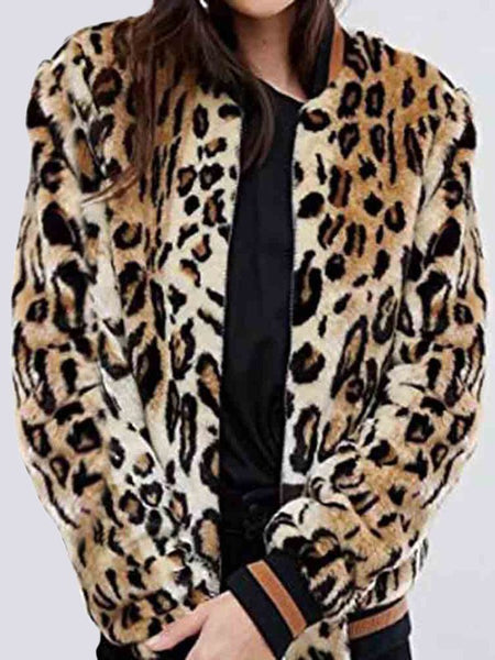 Khaki Leopard Print Pockets Zipper Long Sleeve Fashion Coat