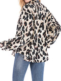 Apricot Leopard Print Single Breasted Long Sleeve Fashion Blouse