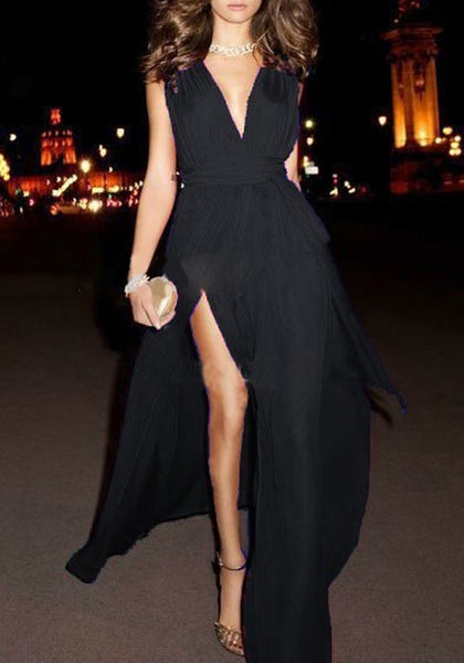 Black Sashes Double Slit V-neck Sleeveless Bohemian Maxi Dress