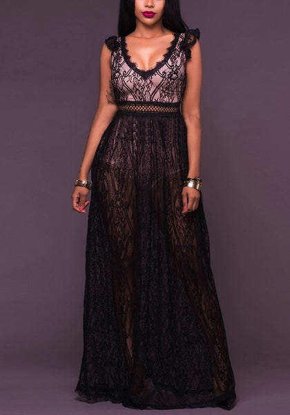 Black Patchwork Lace Backless Deep V-neck Sheer Homecoming Party Masked Ball Maxi Dress
