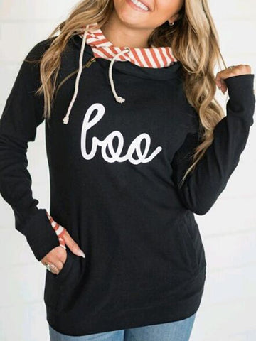 New Black Striped Love Pattern Zipper Pockets Double Hooded Casual Pullover Sweatshirt