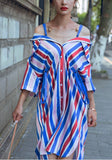 Multicolor Striped Single Breasted Fashion Maxi Dress