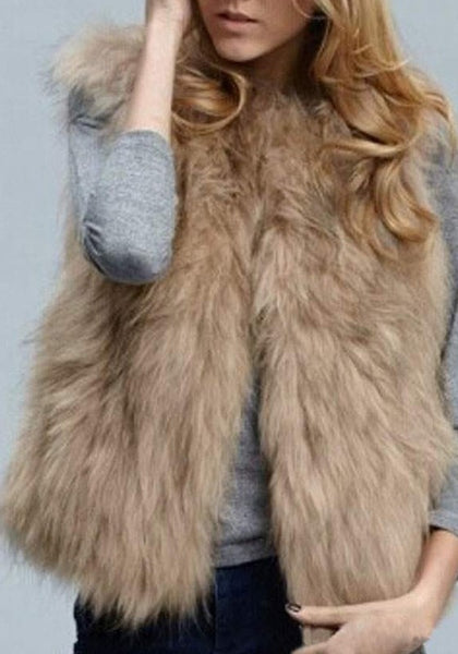 Khaki Fur Collarless Sleeveless Winter Party Fashion Coat