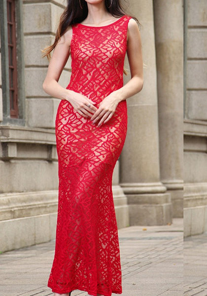 Red Patchwork Lace Cut Out Backless Sleeveless Maxi Dress