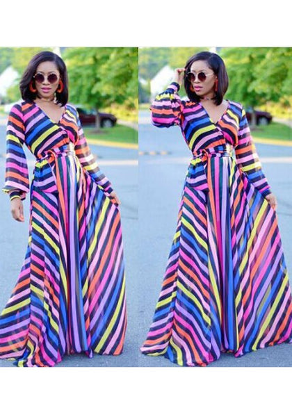 Rose Carmine Colorful Striped Sashes Deep V-neck A-line Bohemian Maxi Dress