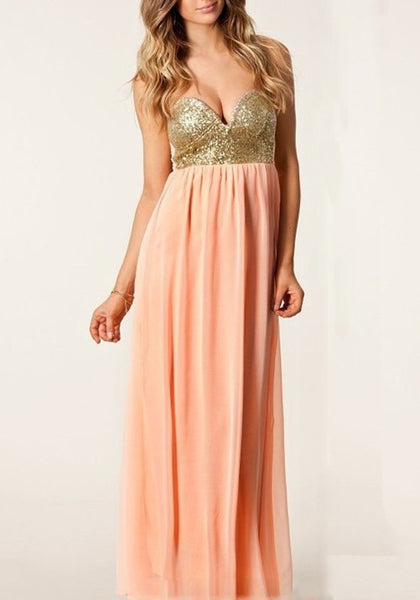 Pink Patchwork Sequin Boat Neck Off Shoulder Backless Bridesmaid Wedding Gowns Party Elegant Maxi Dress