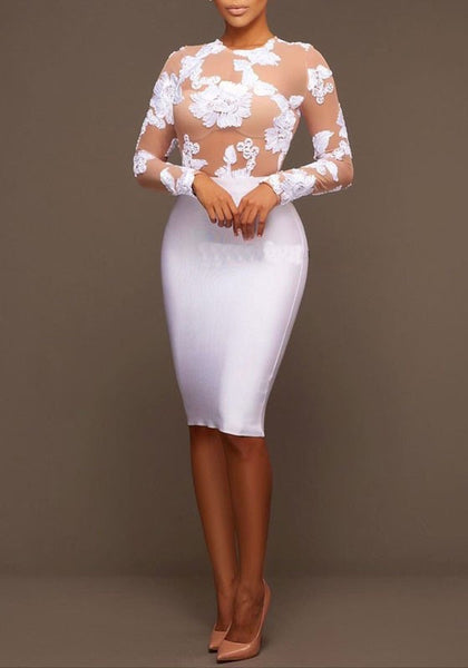 White-Apricot Patchwork Flowers Embroidery Zipper See-through Long Sleeve Bodycon Midi Dress