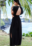 Black Plain Tassel Plunging Neckline Short Sleeve Maxi Dress