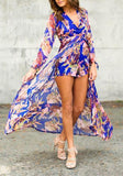 Blue Floral Irregular High-Low Swallowtail High Waisted Boho Long Sleeve Plus Size Short Chiffon Romper Playsuit With Maxi Overl