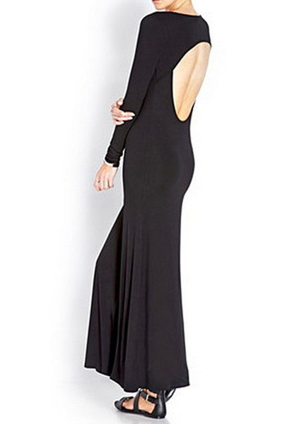 Black Backless Draped Cut Out Slit Scoop Neck Long Sleeve Maxi Dress