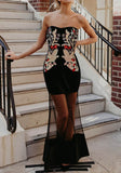 Black Embroidery Off Shoulder Grenadine Bandeau Elegant Banquet Party Maxi Dress