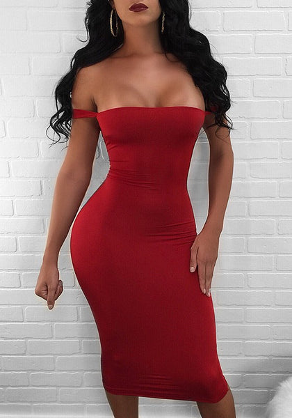 Red Drawstring Cut Out Boat Neck Fashion Midi Dress