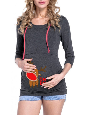 New Dark Grey Floral Drawstring Hooded Long Sleeve Casual Christmas Maternity Sweatshirt