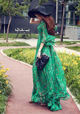 Green Floral V-neck 3/4 Sleeve Vintage Bohemian Sand Beach Chiffon Maxi Dress