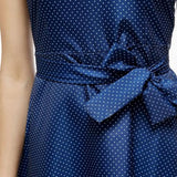 Blue Polka Dot Belt Round Neck Short Sleeve Midi Dress
