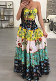 Yellow Tribal Print Pleated Bow Off Shoulder Two Piece Mexican Party Maxi Dress