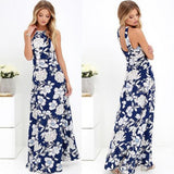 Blue Floral Pattern Round Neck Bohemian Cotton Maxi Dress