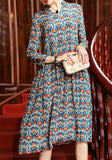 Light Blue Colorful Bohemian Floral Print Draped Summer Beach Party Elegant Midi Dress