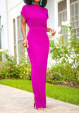 Rose Carmine Side Slit Round Neck Short Sleeve Fashion Maxi Dress