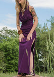 Purple Patchwork Cut Out Drawstring Gypsy Hooded Backless Maxi Dress