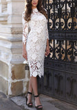 White Patchwork Lace Cut Out Homecoming Party Round Neck 3/4 Sleeve Midi Dress