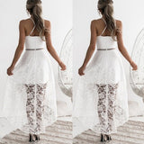 White Patchwork Lace Backless Cross Back High-Low Irregular Halter Homecoming Party Maxi Dress